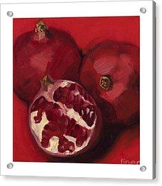 Pomegranite Trio Acrylic Print by Amy Welborn