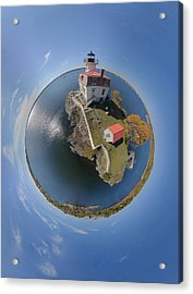 Pomham Rocks Lighthouse Little Planet Acrylic Print by Christopher Blake