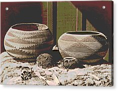 Pomo Baskets And Magnesite Beads Acrylic Print by Padre Art