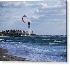 Pompano Beach Kiteboarder Hillsboro Lighthouse Acrylic Print by Toby McGuire
