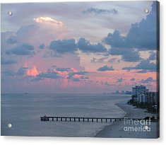 Pompano Pier At Sunset Acrylic Print