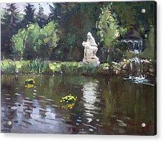 Pond At Our Lady Of Fatima Lewiston Acrylic Print by Ylli Haruni