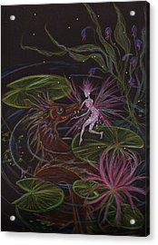 Acrylic Print featuring the drawing Pond Dragon by Dawn Fairies