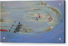 Pond Hockey Acrylic Print by Ken Figurski