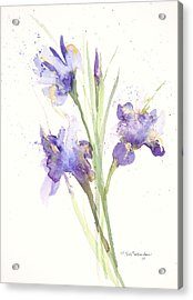 Acrylic Print featuring the painting Pond Iris by Sandra Strohschein