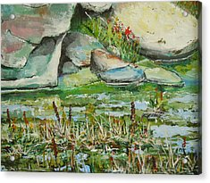 Acrylic Print featuring the painting Pond Shadows And Reflections by Dan Whittemore