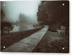 Pond Walk In Black And White Acrylic Print