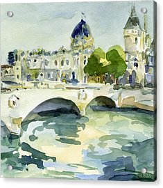 Pont De Change Watercolor Paintings Of Paris Acrylic Print by Beverly Brown