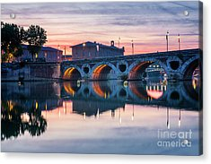Acrylic Print featuring the photograph Pont Neuf In Toulouse At Sunset by Elena Elisseeva
