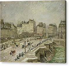 Pont Neuf Snow Effect Acrylic Print by Camille Pissarro