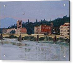 Pont Vecchio Landscape Acrylic Print by Lynne Reichhart