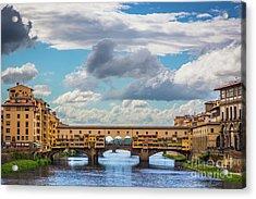Ponte Vecchio Clouds Acrylic Print
