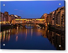 Acrylic Print featuring the photograph Ponte Vecchio Dusk  by Harry Spitz