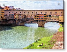 Acrylic Print featuring the photograph Ponte Vecchio Florence Italy II Painterly by Joan Carroll