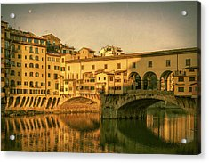 Acrylic Print featuring the photograph Ponte Vecchio Morning Florence Italy by Joan Carroll