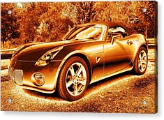 Acrylic Print featuring the digital art Pontiac Solstice Gxp In Gold by Maciek Froncisz