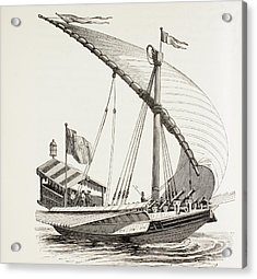 Pontifical Galley With Sails, Oars And Acrylic Print by Vintage Design Pics