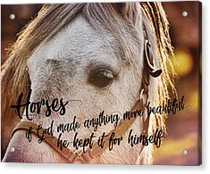 Pony At Sunset Quote Acrylic Print by JAMART Photography