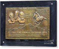Pony Express Brass Plaque Acrylic Print