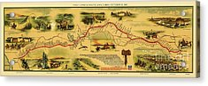 Pony Express Map Acrylic Print by Pg Reproductions