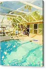 Pool And Screened Pool House Acrylic Print