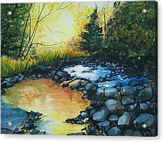 Acrylic Print featuring the painting Pool Of Gold by Lynn Babineau
