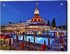 Poolside At The Hotel Del Coronado  Acrylic Print by Sam Antonio Photography