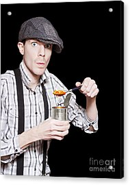Poor Peasant Boy Eating Food From Can Over Black Acrylic Print by Jorgo Photography - Wall Art Gallery