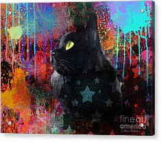 Pop Art Black Cat Painting Print Acrylic Print