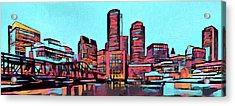 Pop Art Boston Skyline Acrylic Print by Dan Sproul