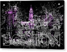 Pop Art Boston Skyline - Purple Acrylic Print