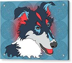 Pop Art Collie - Dog Art - Wpap  Acrylic Print by SharaLee Art