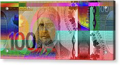 Pop-art Colorized New One Hundred Canadian Dollar Bill Acrylic Print