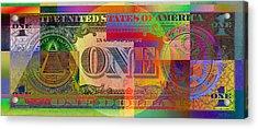 Pop-art Colorized One U. S. Dollar Bill Reverse Acrylic Print by Serge Averbukh
