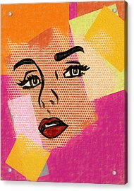Acrylic Print featuring the mixed media Pop Art Comic Woman by Dan Sproul