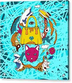 Pop Art Of Seven Cats In Tokyo Acrylic Print by Kenal Louis