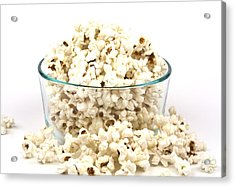 Popcorn In Glass Bowl Acrylic Print by Blink Images