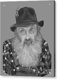 Popcorn Sutton Moonshiner Bust - T-shirt Transparent B And  W Acrylic Print