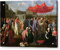 Pope Clement Xi In A Procession In St. Peter's Square In Rome Acrylic Print by Pier Leone Ghezzi