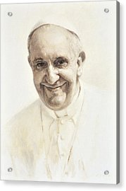 Acrylic Print featuring the painting Pope Francis, Joyful Father by Smith Catholic Art