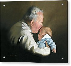 Pope John Paul II With Baby Acrylic Print by Cecilia Brendel