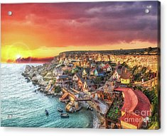 Popeye's Village At Sunset Acrylic Print by Stephan Grixti