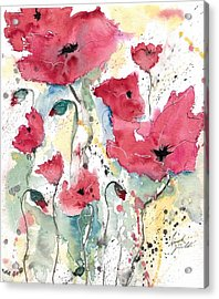 Poppies 10 Acrylic Print by Ismeta Gruenwald
