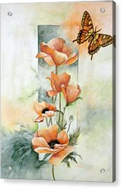 Poppies And Butterfly Acrylic Print