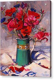 Poppies And Cornflowers In Green Jug Acrylic Print by Sue Wales