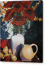 Poppies And Pears Acrylic Print