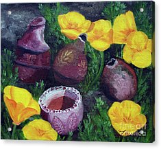 Poppies And Pottery Acrylic Print by Laura Iverson