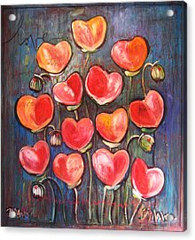 Poppies Are Hearts Of Love We Can Give Away Acrylic Print