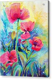 Poppies Acrylic Print by Bente Hansen
