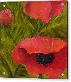 Poppies Diptych B Acrylic Print by Rita Bentley